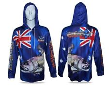 Australia Day Jewfish Hooded Fishing Shirt Mens XS Up To 3XL + Kids 6,8,10,12