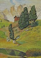Monogrammiert H J - Hütte in den Alpen