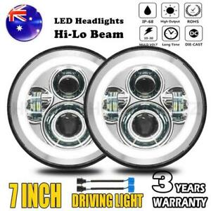 Pair 7 Inch LED Headlight HI-Low DRL Beam Projector For Jeep VW Beetle Classic
