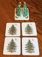 Spode Christmas Tree - 4 COASTERS with TREE HOLDER