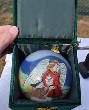 "Li Bien Reverse Painted 4"" Glass Ball Christmas Ornament Angel & Shepherd"