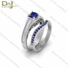 R2D2 Droid Star Wars Inspired Blue Sapphire Engagement Rings 2Pc Bridal Ring Set