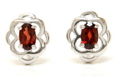 9ct White Gold Garnet Celtic Studs Earrings Made in UK Gift Boxed
