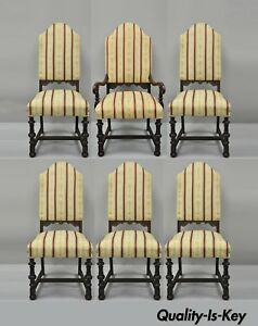 6 Depression Renaissance Revival Walnut Upholstered Jacobean Dining Chairs