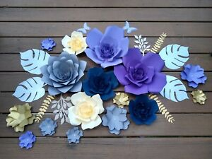 Lavender/navy/plum/ Set of 16 Paper Flowers  for Wall Décor, Backdrops,Weddings
