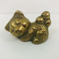 Antique Vintage Small Brass Bear? Cat?  Ornament Paperweight