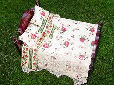 Miniature Dollhouse Bedspread Comforter Pillows 1:12 scale Victorian Rose Lace*