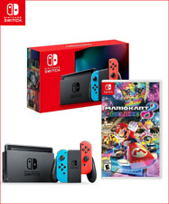 Nintendo Switch V2 + Mario Kart 8 Deluxe Neon Red/Blue Joycon BRAND NEW BUNDLE