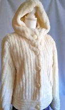 White faux fur hood Outer Jacket snap buttons Jenner Lopez waist length warm Med