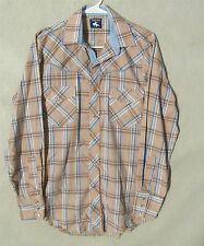 W6603 Chute 1 Mens Tan/Blue/White Pearl Snap Button Up Western Shirt No Tag Size