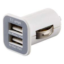 Cargador Mechero Coche Doble USB 3.1A Dual Blanco para Samsung iPhone HTC