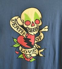 Ed Hardy by Christian Audigier Skull Death of Love Mens Size XL Blue Graphics