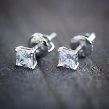 STERLING SILVER SCREW BACK STUD PRINCESS CUT DIAMOND EARRINGS