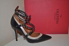 NIB VALENTINO BLACK Leather Grommet Studded Pointed Toe Pump Shoes Heel 38 -8