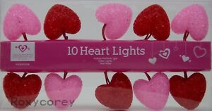 Valentine's Day 10 Red & Pink Sparkle Heart Shaped String Lights NIB
