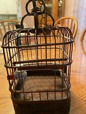Antique Wooden Bird Cage with Wind up Metal Bird