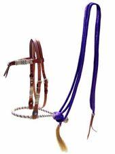 Showman Rawhide BOSAL Futurity Knot HEADSTALL & PURPLE Nylon MECATE REINS