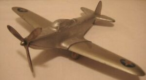Old White Metal Plane w/ Tin Wings U.S. Army Military Airplane - Hubley