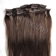 Full head CLIP IN 100% HUMAN HAIR EXTENSIONS medium brown #4  70g16 INCH 40CM