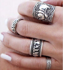 4pcs Silver Punk Vintage Elephant Ring Set Women Retro Finger Rings Boho Styl F