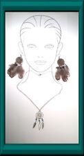 BEAUTIFUL RETRO CHAIN NECKLACE & Dream Catcher Pendant W. Vintage Feather Tassle