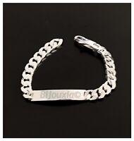 Bracelet HOMME Gravure Identité Gourmette 21 CM X 8MM Argent Massif 925/1000