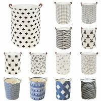 Large Foldable Canvas Washing Clothes Laundry Basket Bag Hamper Storage Holder