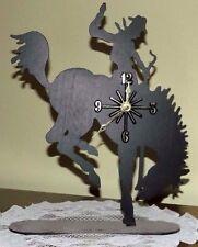 New Bucking Bronco with Rider Black Metal Clock