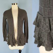 BANANA REPUBLIC Cotton Linen Heather Gray Ruffle Peplum Hem Open Cardigan XS
