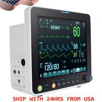 "FDA 12"" Portable ICU CCU Vital Signs Patient Monitor SpO2,PR,NIBP,ECG,RESP,TEMP"