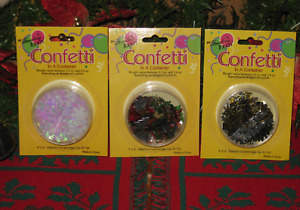 Christmas Holiday Confetti Snow Flakes, Happy New Year Confetti In A Container