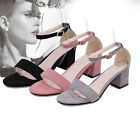 WOMENS LOW MID HEEL BLOCK PEEP TOE LADIES ANKLE STRAP PARTY STRAPPY SANDAL 4.5-8