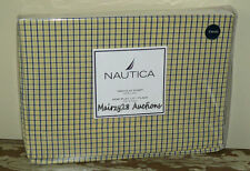 NEW Nautica TATTERSALL Plaid Checked YELLOW Navy Gingham Fabric TWIN FLAT SHEET