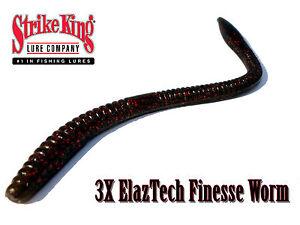 Strike King 3X ElazTech Super Finesse Worm - Select Size/Color(s)