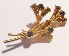 broche rétro floral incrusté de cristaux couleur amethyste couleur or *338