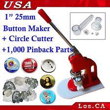 KIT!! 1Inch Badge Button Maker+Adjust Circle Cutter+1,000Set Pin Back Supplies