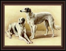 Vintage English Print Borzoi Twin Dog Art