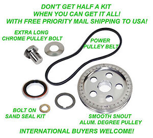 VW 7 PC BOLT ON SAND SEAL PULLEY KIT 5 HOLE DEGREE PULLEY BAJA BEETLE GHIA BUGGY