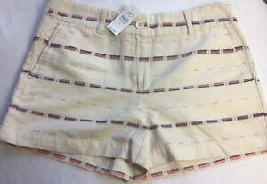 """Loft Shorts Light Beige Size 6.  4"""" inseam  32"""" waist Stripe Cotton Blend"""