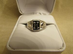 """Initial """"H"""" Boys/Small Finger Sterling Silver Ring With Genuine Onyx Stone"""