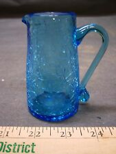 Small Vintage Blue Crackle Glass Pitcher Cream Syrup Free Shipping