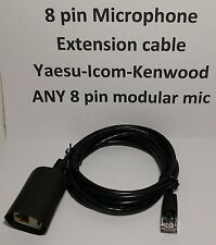 MICROPHONE EXTENSION CABLE 8 PIN RJ45 MODULAR YAESU ICOM KENWOOD BLACK 5 feet