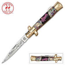 Kissing Crane Mothers Day Stiletto Knife Abalone Bone Handles KC5385 NEW