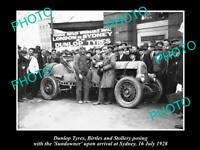 OLD 8x6 HISTORIC PHOTO OF DUNLOP TYRES LONDON to SYDNEY DRIVE SUNDOWNER 1928
