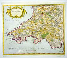 ROBERT MORDEN SOUTH WALES UK COPPER ENGRAVING MAP KUPFERSTICH KARTE #D966WS