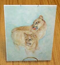 1984 HAND-PAINTED & SIGNED TAN PANTHER (FLORIDA'S STATE ANIMAL) PORCELAIN PLAQUE