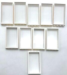 Lego 10 Neuf Blanc 1 x 4 x 6 Windows Transparent Pièces