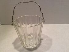 Vintage etched glass ice bucket, metal handle