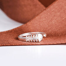 925 Sterling Silver Plated Adjustable Open Ring Thumb Lady  Man Cute Fish Bone