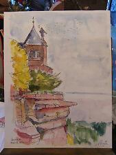 Aquarelle Couvent Mont St Odile A Simon 1926-2014 1992 Artiste Lorrain